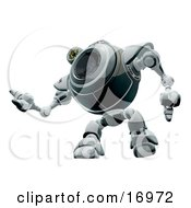 Technology Clipart Illustration Image Of A Robotic Webcam Looking Upwards While Watching