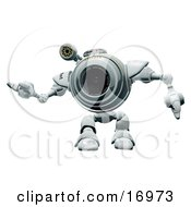 Technology Clipart Illustration Image Of A Friendly Robotic Webcam Waving Or Dancing