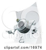 Technology Clipart Illustration Image Of A Webcam Robot Stepping Out Of A Drawing On Graph Paper