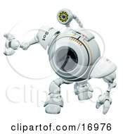 Technology Clipart Illustration Image Of A Webcam Robot Curiously Looking Upwards And Tilting His Head