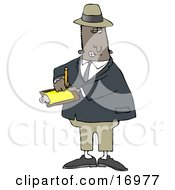 Male African American Inspector In A Hat And Suit Writing Notes On A Clip Board While Investigating