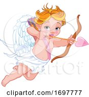 Flying Baby Cupid Aiming An Arrow