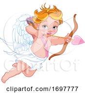 Flying Baby Cupid Aiming An Arrow