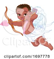 Flying Black Baby Cupid Aiming An Arrow by Pushkin