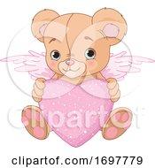Cute Teddy Bear Cupid Holding A Valentine Heart