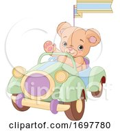 Cute Teddy Bear Driving A Car