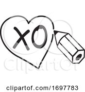 Poster, Art Print Of Black And White Pencil Drawing A Heart Around Xo Text