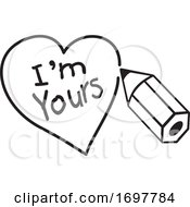 Poster, Art Print Of Black And White Pencil Drawing A Heart Around Im Yours Text