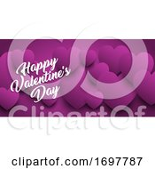 Poster, Art Print Of Valentines Day Banner With Heart Design