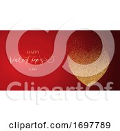 Poster, Art Print Of Valentines Day Banner With Glittery Heart Design
