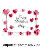 Poster, Art Print Of Valentines Day Background With Hearts And Frame