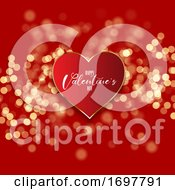 Valentines Day Background With Heart On Bokeh Lights Design