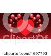 Valentines Day Banner With Heart And Balloons