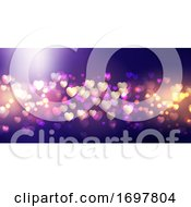Poster, Art Print Of Bokeh Lights Valentines Day Banner