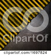 Grunge Metal Texture On A Yellow And Black Striped Background
