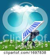 3D Robot Holding A Solar Panel On A Grassy Landscape