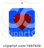 Poster, Art Print Of Valentine White And Blue Card With Red Heart