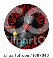 Vinyl Discs Over Star Burst Round Border