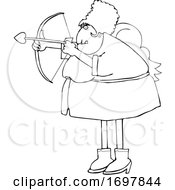 Poster, Art Print Of Cartoon Chubby Female Cupid Aiming An Arrow