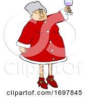 Cartoon Mrs Claus Toasting