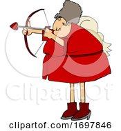 Cartoon Chubby Female Cupid Aiming An Arrow