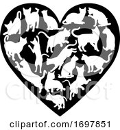 Poster, Art Print Of Cat Heart Silhouette Concept