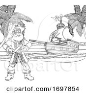 Pirate Captain Ship Cartoon Coloring Background