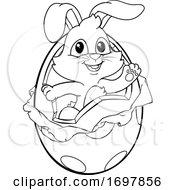 Easter Bunny Rabbit Breaking Out Of Chocolate Egg