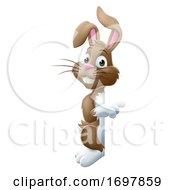Easter Bunny Rabbit Peeking Around Sign Pointing