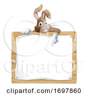 Poster, Art Print Of Easter Bunny Rabbit Peeking Over Sign Pointing