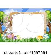Poster, Art Print Of Easter Bunny Sign Eggs Basket Background Cartoon