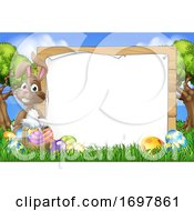 Easter Bunny Sign Eggs Basket Background Cartoon