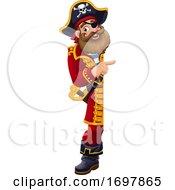 Pirate Cartoon Captain Peeking Pointing Sign