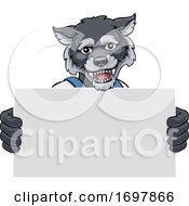 Wolf Cartoon Mascot Handyman Holding Sign