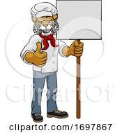 Poster, Art Print Of Wildcat Chef Cartoon Restaurant Mascot Sign