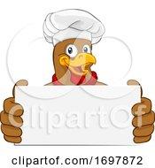 Poster, Art Print Of Chicken Chef Cartoon Rooster Cockerel Mascot Sign
