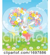 Poster, Art Print Of Rabbit Carrying A Heart Of Flowers