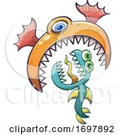 01/26/2020 - Cartoon One Eyed Sea Monster Eating Another Creature