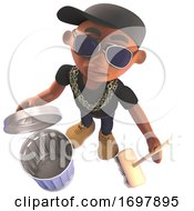 3d Hip Hop Rap Artist In Baseball Cap With Broom And Trash Can 3d Illustration