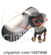 3d Hiphop Rapper In Baseball Cap Next To A Nuclear Bomb 3d Illustration