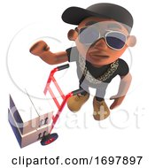 3d Hiphop Rap Artist In Baseball Cap Waving Next To A Hand Cart With Parcels 3d Illustration