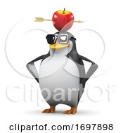 Poster, Art Print Of 3d Penguin With An Arrow Through An Apple On His Head