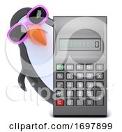 Poster, Art Print Of 3d Penguin With A Calculator