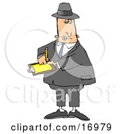 People Clipart Illustration Image Of A Male Caucasian Inspector In A Hat And Suit Writing Notes On A Clip Board While Investigating