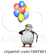 Poster, Art Print Of 3d Penguin With Balloons