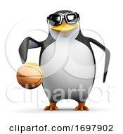 Poster, Art Print Of 3d Penguin Dribbling A Basketball
