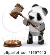 3d Panda Bear With Gavel