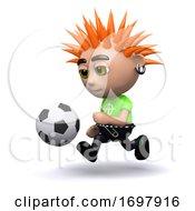 Poster, Art Print Of 3d Punk Plays Football