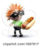 Poster, Art Print Of 3d Punk Eats A Hot Dog