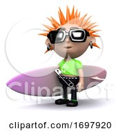 Poster, Art Print Of 3d Punk With Surfboard